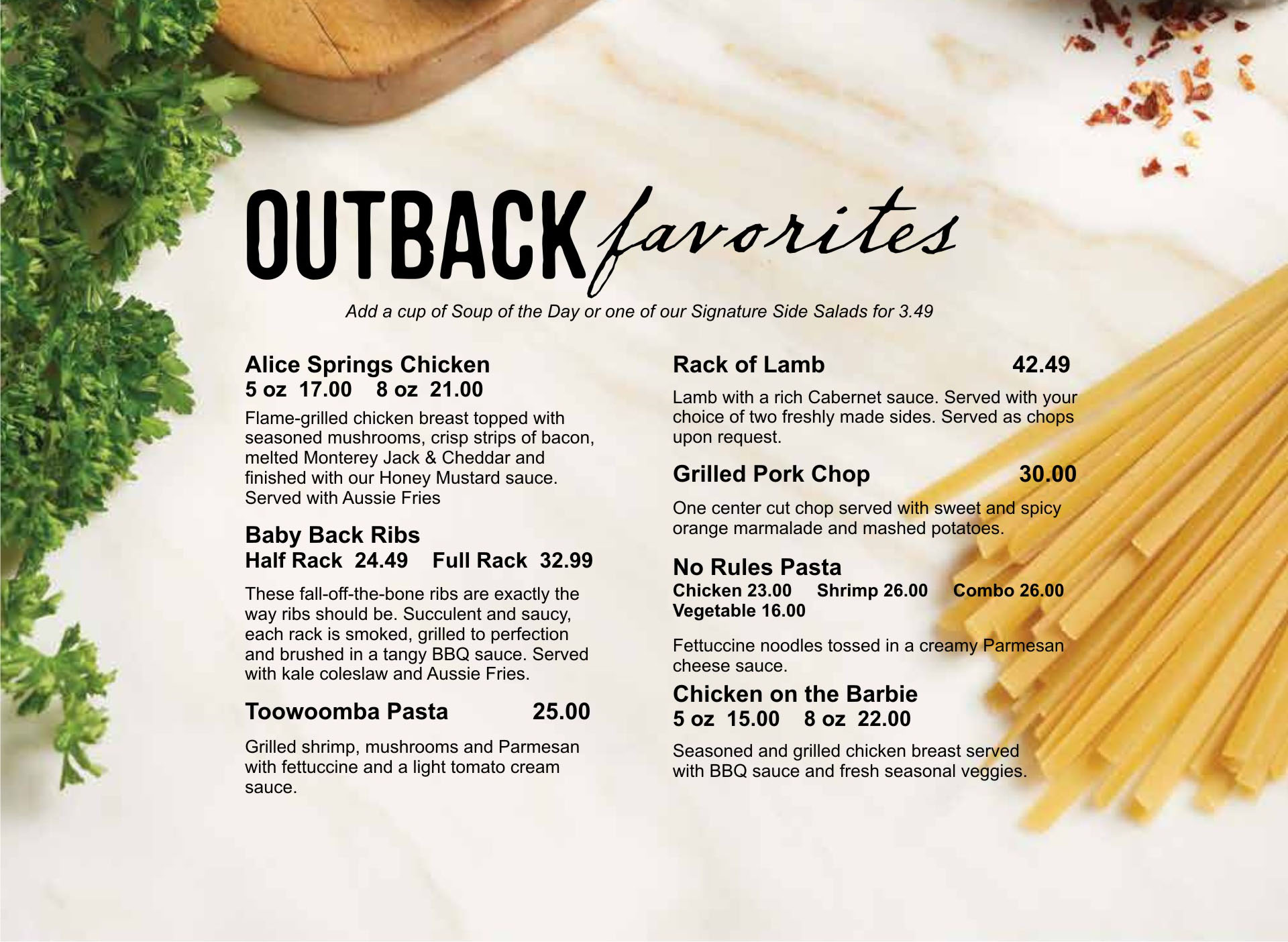 Outback favorites menu